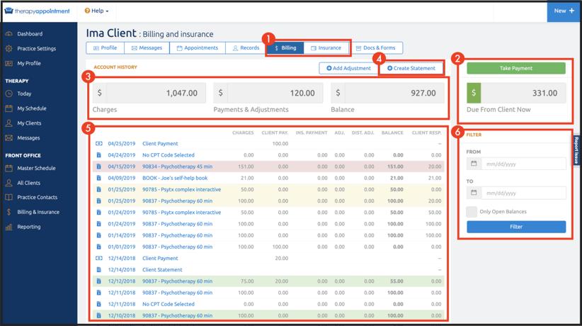 Client Record -- Billing